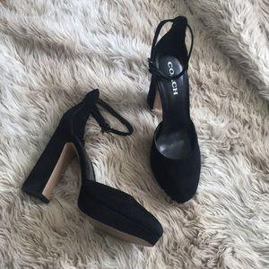 Coach black suede chrystie block heels platform